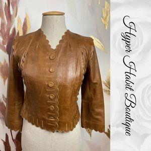 Scalloped Leather Waist Jacket